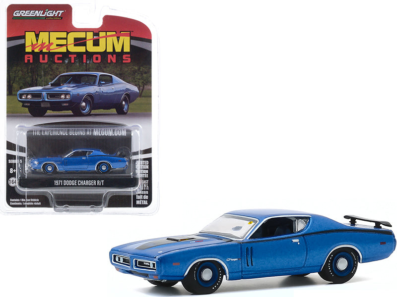 "1971 Dodge Charger R/T Blue Metallic with Black Stripes (Dallas 2019) \Mecum Auctions Collector Cars"" Series 5 1/64 Diecast Model Car by Greenlight"""