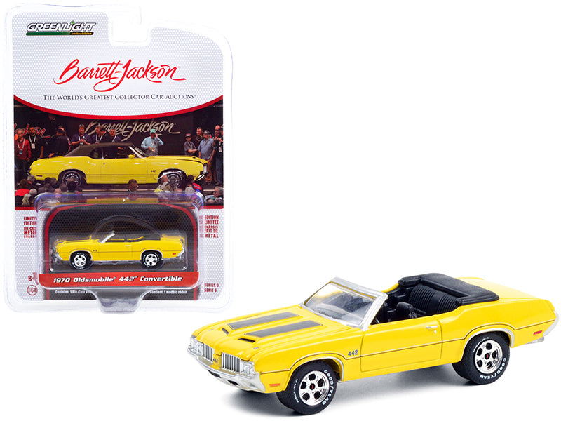 1970 Oldsmobile 442 Convertible Sebring Yellow with Black Stripes (Lot #743) Barrett Jackson Scottsdale Edition Series 6 1/64 Diecast Model Car by Greenlight