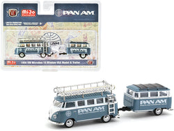 "1958 Volkswagen Microbus 15 Window U.S.A. Model with Travel Trailer \PAN AM"" Limited Edition to 3000 pieces Worldwide 1/64 Diecast Model Car by M2 Machines"""