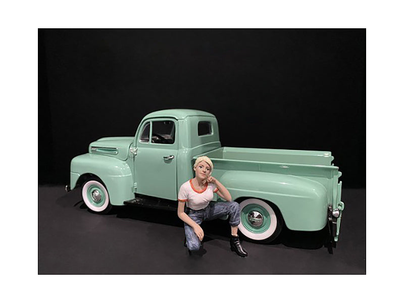 Car Girl in Tee Michelle Figurine for 1/24 Scale Models by American Diorama