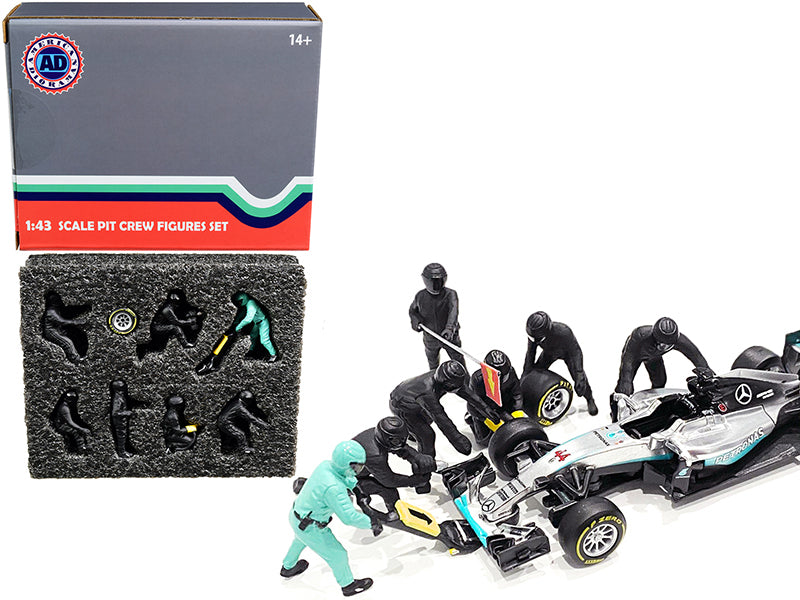 Formula One F1 Pit Crew 7 Figurine Set Team Black for 1/43 Scale Models by American Diorama