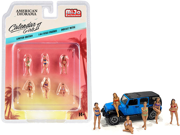"\Calendar Girls"" 6 piece Diecast Figurine Set Release 2 for 1/64 Scale Models by American Diorama"""