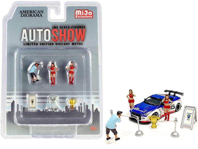 "\Auto Show"" Diecast Set of 6 pieces (3 Figurines and 3 Accessories) for 1/64 Scale Models by American Diorama"""
