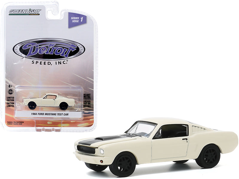 "1966 Ford Mustang Fastback Test Car Cream with Black Stripe \Detroit Speed Inc."" Series 1 1/64 Diecast Model Car by Greenlight"""