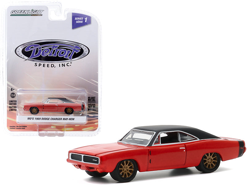 "1969 Dodge Charger May/Hem (Mo\'s) Red with Black Top and Copper Wheels \Detroit Speed Inc."" Series 1 1/64 Diecast Model Car by Greenlight"""