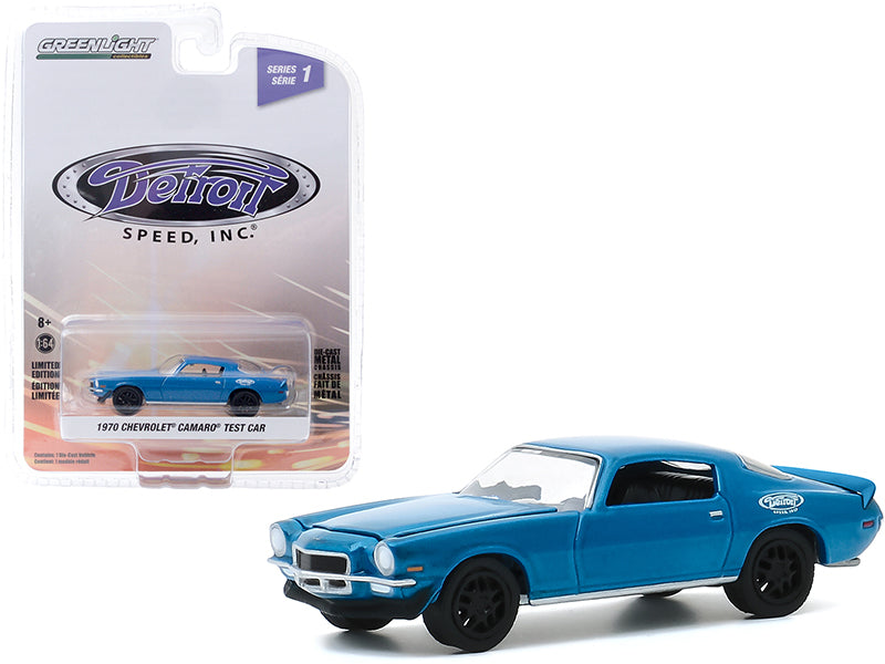 "1970 Chevrolet Camaro Test Car Blue with Black Wheels \Detroit Speed Inc."" Series 1 1/64 Diecast Model Car by Greenlight"""