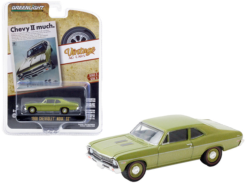 "1968 Chevrolet Nova SS Green Metallic \Chevy II Much"" \""Vintage Ad Cars\"" Series 3 1/64 Diecast Model Car by Greenlight"""