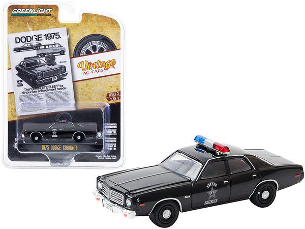 "1975 Dodge Coronet \State Police"" Black \""Dodge 1975. The Complete Fleet for All Your Law Enforcement Needs\"" \""Vintage Ad Cars\"" Series 3 1/64 Diecast Model Car by Greenlight"""