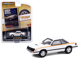 "1980 Ford Mustang White with Stripes \Introducing A Sports Car For The 80\'s. Ford Mustang"" \""Vintage Ad Cars\"" Series 4 1/64 Diecast Model Car by Greenlight"""