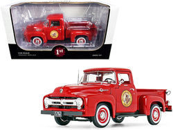 "1956 Ford F-100 Pickup Truck Vermillion Red \The Busted Knuckle Garage"" 1/25 Diecast Model Car by First Gear"""