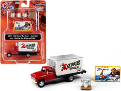 "1955 Chevrolet Box Truck Red and White with Building Sign and 3 Beer Kegs with Skid \Acme Beer"" 1/87 (HO) Scale Models by Classic Metal Works"""