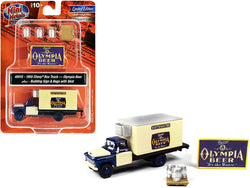 "1955 Chevrolet Box Truck \Olympia Beer"" Dark Blue and Yellow with Building Sign and 3 Beer Kegs with Skid 1/87 (HO) Scale Models by Classic Metal Works"""