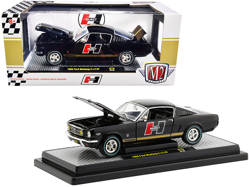 "1966 Ford Mustang GT 2+2 Black with Gold Stripes \Hurst"" Limited Edition to 6880 pieces Worldwide 1/24 Diecast Model Car by M2 Machines"""