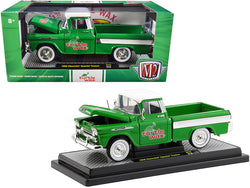 "1958 Chevrolet Apache Cameo Pickup Truck Green with White Top and White Stripes \Turtle Wax"" Limited Edition to 6880 pieces Worldwide 1/24 Diecast Model Car by M2 Machines"""