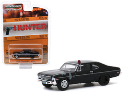 "1969 Chevrolet Nova Police Black (Unrestored) \Hunter"" (1984-1991) TV Series \""Hollywood Series\"" Release 28 1/64 Diecast Model Car by Greenlight"""