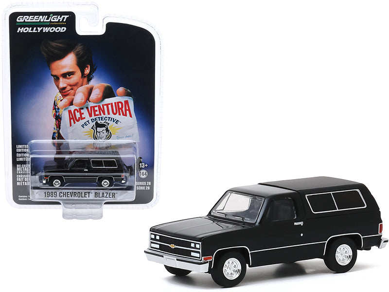 "1989 Chevrolet Blazer Black \Ace Ventura: Pet Detective"" (1994) Movie \""Hollywood Series\"" Release 28 1/64 Diecast Model Car by Greenlight"""