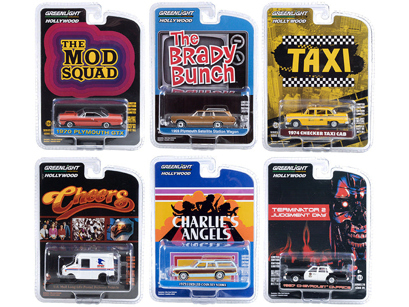 "\Hollywood Series"" Set of 6 pieces Release 29 1/64 Diecast Model Cars by Greenlight"""
