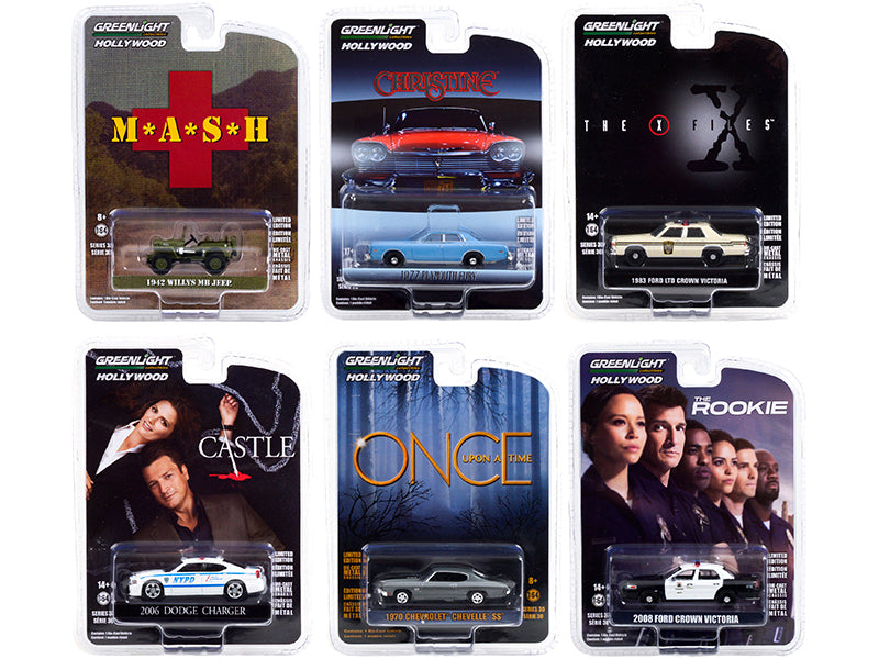 "\Hollywood Series"" Set of 6 pieces Release 30 1/64 Diecast Model Cars by Greenlight"""
