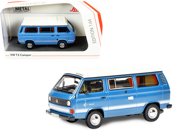 Volkswagen T3 Joker Camper Bus Light Blue with White Top 1/64 Diecast Model by Schuco
