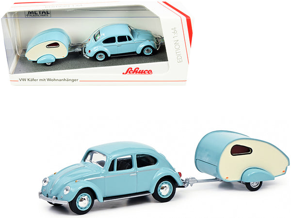 Volkswagen Kafer Light Blue with ES-Piccolo Travel Trailer Light Blue and Cream 1/64 Diecast Model Car by Schuco