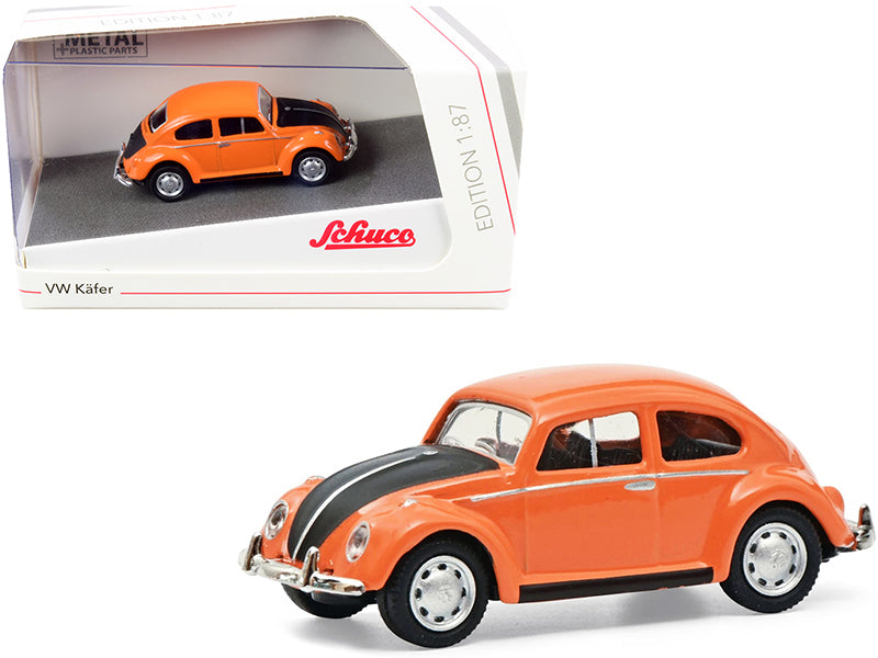 Volkswagen Kafer Orange and Black 1/87 (HO) Diecast Model Car by Schuco