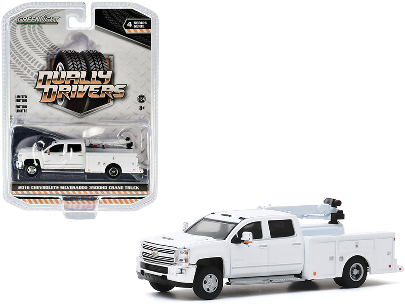 "2016 Chevrolet Silverado 3500HD Dually Crane Truck White \Dually Drivers"" Series 4 1/64 Diecast Model Car by Greenlight"""