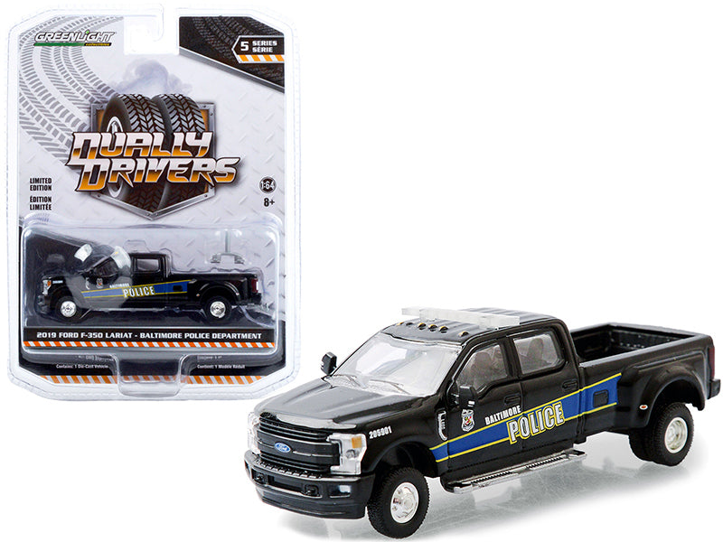 "2019 Ford F-350 Lariat Dually Pickup Truck Black \Baltimore Police Department"" (Maryland) \""Dually Drivers\"" Series 5 1/64 Diecast Model Car by Greenlight"""