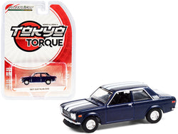 "1971 Datsun 510 Custom Rich Blue Metallic with White Stripes \Tokyo Torque"" Series 9 1/64 Diecast Model Car by Greenlight"