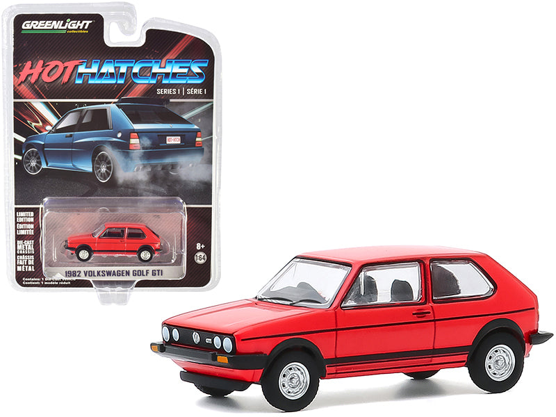 "1982 Volkswagen Golf GTI Red with Black Stripes \Hot Hatches"" Series 1 1/64 Diecast Model Car by Greenlight"""