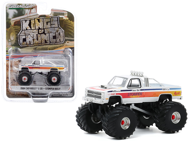 "1984 Chevrolet C-20 Monster Truck \Stomper Bully"" White with Stripes \""Kings of Crunch\"" Series 7 1/64 Diecast Model Car by Greenlight"""