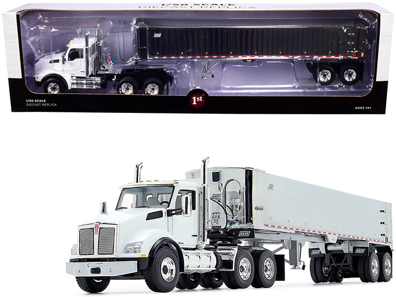 Kenworth T880 Day Cab with East Genesis End Dump Trailer White and Chrome 1/50 Diecast Model by First Gear