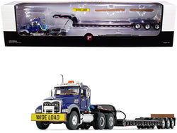 Mack Granite MP Tandem-Axle Day Cab with Talbert Tri-Axle Lowboy Trailer Mack Blue and Black 1/50 Diecast Model by First Gear