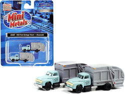 "1957 Chevrolet Garbage Truck \Oceanside Department of Public Works"" Light Blue and Gray Set of 2 pieces 1/160 (N) Scale Models by Classic Metal Works"""