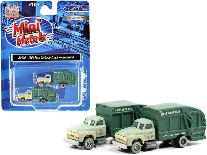 "1957 Chevrolet Garbage Truck \Ironwood Sanitation"" Light Green and Dark Green (Dirty) Set of 2 pieces 1/160 (N) Scale Models by Classic Metal Works"""