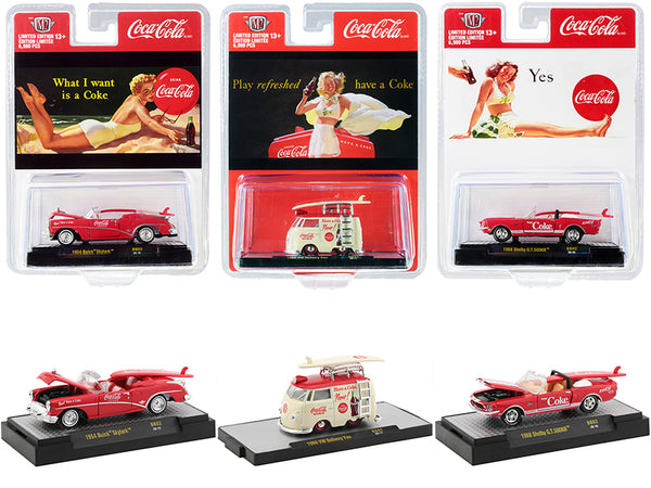 "\Coca-Cola Bathing Beauties"" Set of 3 Cars with Surfboards Limited Edition to 6980 pieces Worldwide 1/64 Diecast Model Cars by M2 Machines"""