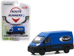 "2018 RAM ProMaster 2500 Cargo Van High Roof \MOPAR Custom Shop"" Blue and Black \""Route Runners\"" Series 1 1/64 Diecast Model by Greenlight"""