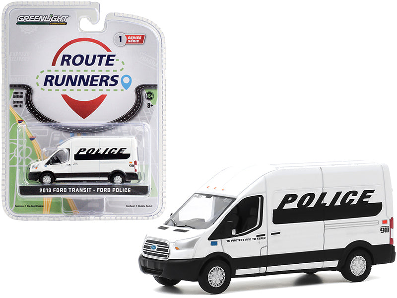 "2019 Ford Transit High Roof Van \Police"" White and Black \""Route Runners\"" Series 1 1/64 Diecast Model by Greenlight"""