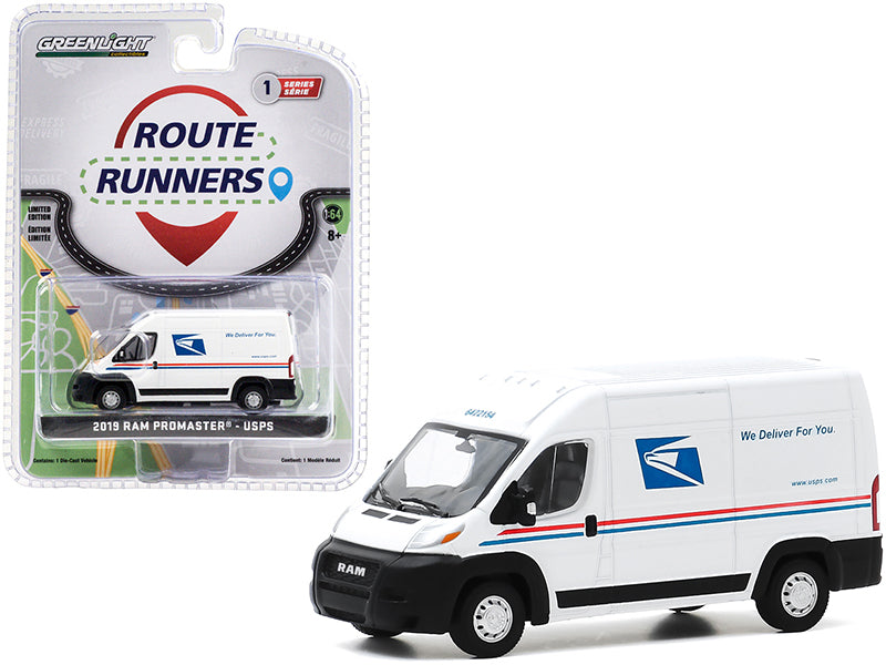 "2019 RAM ProMaster 2500 Cargo High Roof Van \United States Postal Service"" (USPS) White \""Route Runners\"" Series 1 1/64 Diecast Model by Greenlight"""