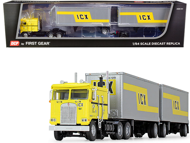 "Kenworth K100 COE Truck with Wabash Double Pup Trailers \ICX"" (Illinois California Express) Yellow and Silver 32th in a \""Fallen Flag Series\"" 1/64 Diecast Model by DCP/First Gear"""
