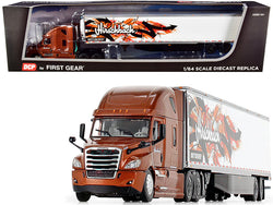 "2018 Freightliner Cascadia High-Roof Sleeper Cab with 53\' Utility Reefer Refrigerated Trailer with Skirts \Hirschbach"" 1/64 Diecast Model by DCP/First Gear"""