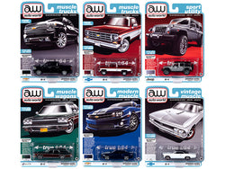 Autoworld Muscle Cars Premium 2020 Release 2, Set B of 6 pieces 1/64 Diecast Model Cars by Autoworld