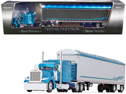 "Peterbilt 379 63\ Mid-Roof Sleeper Cab with 53\' Walking Floor Trailer ""Pyskaty Bros. Trucking #34\"" Light Blue Metallic and Chrome \""Ice Road Truckers\"" (2007) TV Series 2nd in a \""Big Rig"""