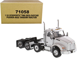 Kenworth T880 SBFA Day Cab Pusher-Axle Tandem Truck Tractor White Metallic 1/50 Diecast Model by Diecast Masters