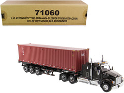 "Kenworth T880 SBFA 40\ Sleeper Cab Tridem Truck Tractor Black Metallic with Flatbed Trailer and 40\' Dry Goods Sea Container ""TEX\"" \""Transport Series\"" 1/50 Diecast Model by Diecast Master"""