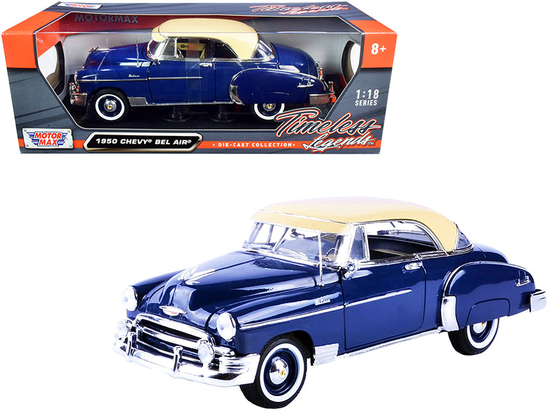 "1950 Chevrolet Bel Air Dark Blue with Cream Top \Timeless Legends"" 1/18 Diecast Model Car by Motormax"""