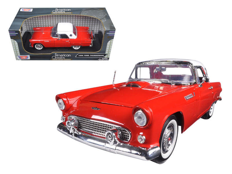 "1956 Ford Thunderbird Hardtop Red with White Top \American Classics"" 1/18 Diecast Model Car by Motormax"""