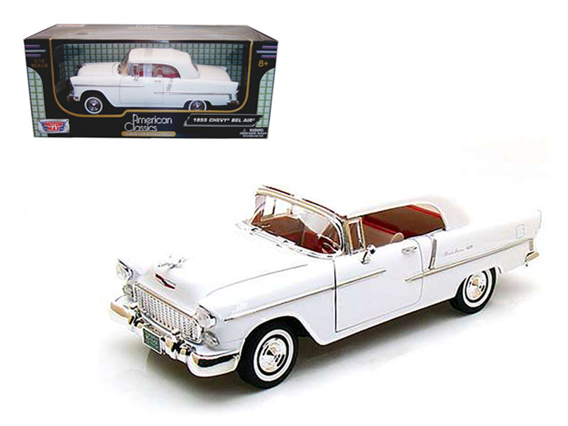 1955 Chevrolet Bel Air Soft Top Convertible White 1/18 Diecast Model Car by Motormax