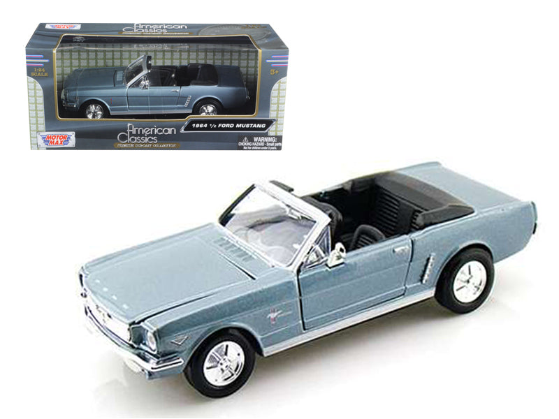 1964 1/2 Ford Mustang Convertible Light Blue 1/24 Diecast Model Car by Motormax