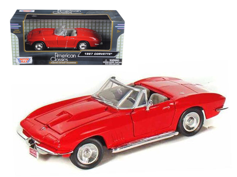 1967 Chevrolet Corvette Convertible Red 1/24 Diecast Model Car by Motormax