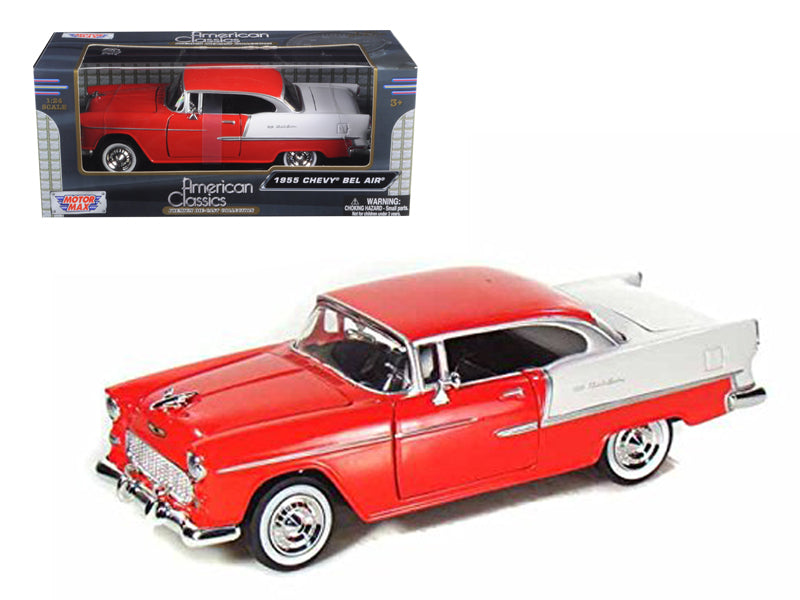 1955 Chevrolet Bel Air Red 1/24 Diecast Model Car by Motormax